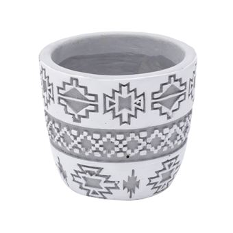CACHEPOT CONCRETO AMERICAN TRIBAL NATIVE CINZA
