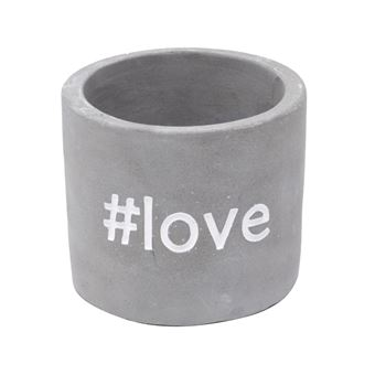 CACHEPOT CONCRETO WITH LOVE CINZA 7,7X7,7X6,7 CM